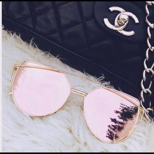 ROSE GOLD Cat Eyed Mirrored  Aviator Sunglasses